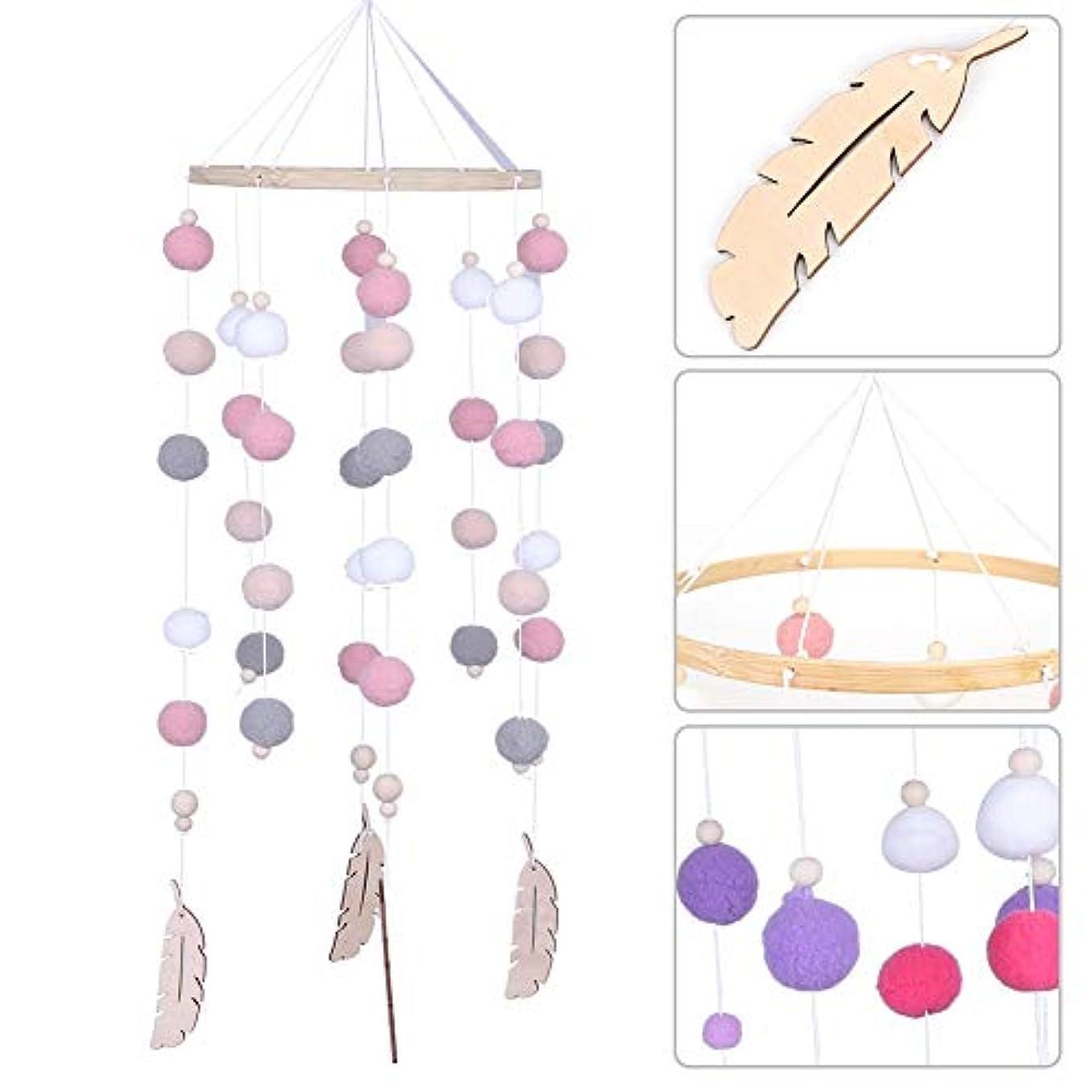 損傷トレッド歌詞非有毒な竹の鐘の風鈴、風鈴、教会の壁掛け装飾用ベビーベッドの装飾(Circle wind chimes-pink and white)