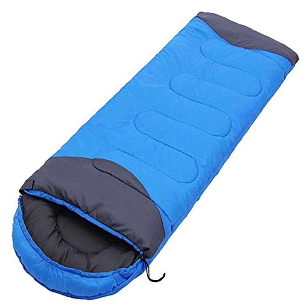 端貫入驚大人の軽い寝袋フード付きコットン暖かい4シーズン寝袋旅行用ハイキング屋内野外活動青赤 (色 : 青)