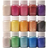 Epoxy Resin Dye - 15 Colors Mica Powder - Natural Slime Coloring Pigments, for Bath Bomb Dyes, Soap Making, and Bright Nail Art, Etc. (10G/ 0.35oz Each)