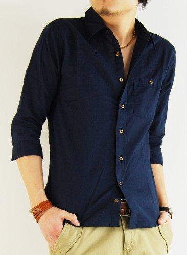 (アーケード) ARCADE 24color 綿麻素材 7分袖シャツ XL ネイビー