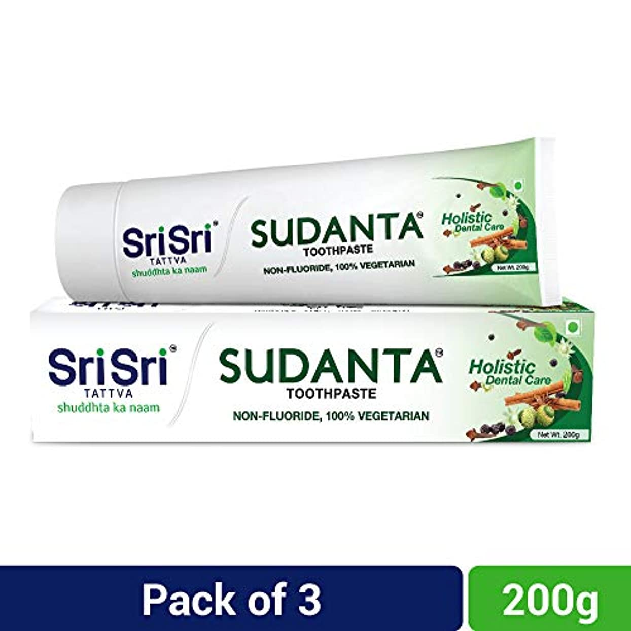 万一に備えてアッパープリーツSri Sri Tattva Sudanta Toothpaste, 600gm (200gm x Pack of 3)