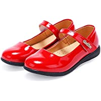 Naisidier Girls Court Shoes Solid Color Leather Upper Mary Jane Shoes with Convenient Hook and Loop Closure for School and Prom