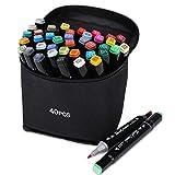 IWAKADO マーカーペン 油性ペン アートマーカー 40色セット 2種類のペン先 太字 細字 筆ペン カラー 塗り絵、描画、落書き、学習用 キャリングケース付き