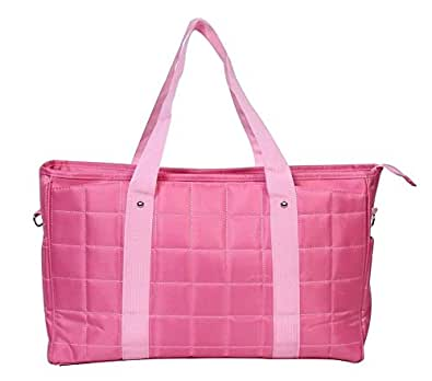 マザーズバッグ 2way 斜めがけ ショルダー トート ママ バッグ / 旅行 トラベル アウトドア 通勤 通学 学生 鞄 にも使えます! 軽量 大容量 たっぷり収納力 (ピンク)