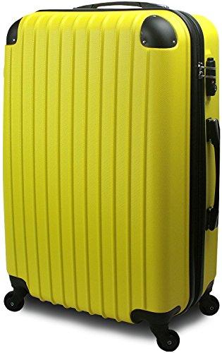 スーツケース キャリーバッグ 3サイズ(大型 Lサイズ/中型 Mサイズ/小型 Sサイズ)TSA FS3000シリーズ 超軽量 ファスナーモデル (中型 Mサイズ 3~7泊用, イエロー)