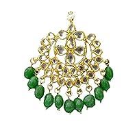 finekraft Meena KundanブライダルウェディングDesigner Gold Plated Maang Tikkaジュエリーで設定green-color
