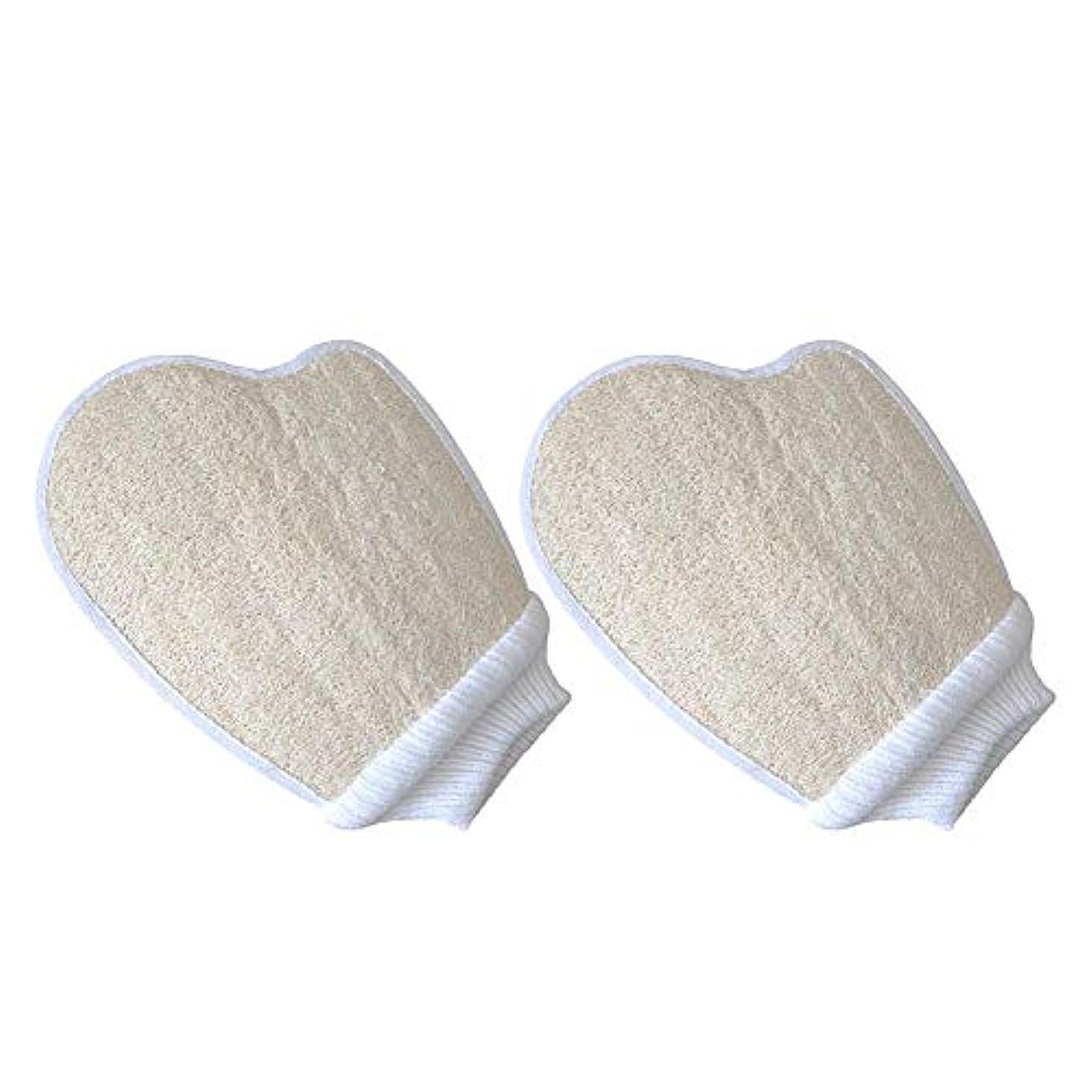 弱い必要性LUHUN 2PCSパックユニセックス女性/男性天然ヘチマ手袋、ヘチマパッド、男性用バススポンジとシャワーヘチマ-シャワー用、ボディスパマッサージデッドスキンセルリムーバー
