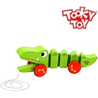 Tooky Toys Tk15105 Wooden Pull Along Crocodile Toy, Multicolour