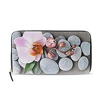 長財布 人気 レディース メンズ 大容量多機能 二つ折り ラウンドファスナー PUレザーピンク蘭スパ石熱帯の花ウォレット ブラック