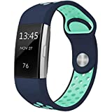 "Swees For Fitbit Charge 2 Bands Sport Silicone Small & Large (5.7"" - 8.3""), Replacement Breathable Sport Bands with Air Holes for Fitbit Charge 2 Women Men, Black, Grey, Navy Blue, Pink, White, Teal"