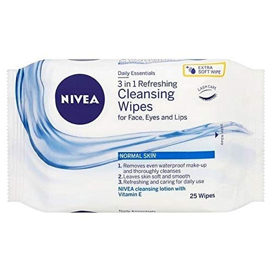 補体主人取り付け[Nivea ] ニベアさわやかなクレンジング顔は、25のワイプワイプ - NIVEA Refreshing Cleansing Face Wipes, 25 wipes [並行輸入品]