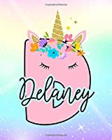 Delaney: Girls Unicorn Journal to Write In | Personalized Journal
