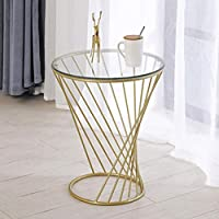 Xue 北欧スモールラウンドテーブル/コーヒーテーブル/ソファサイド/ベッドサイドテーブル収納/鍛造スパイラルスモールラウンドテーブル (色 : ゴールド, サイズ さいず : 直径50cmの)