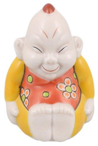 九谷焼 福の神 ビリケン 2.5号 花イエロー A-0035...