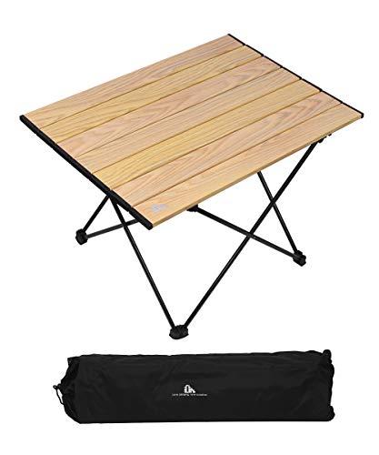 iClimb 折りたたみテーブル キャンプ テーブル アウトドア テーブル 56.5×40×38cm ロールテーブル コンパクト アルミ製 軽量 【耐荷重30kg】 ミニテーブル キャンプ用品 耐熱 防酸化処理 つや消し 収納袋付き (木の目)