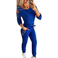 Women Cold Shoulder Beading Tracksuit Sweatsuit Two Piece Outfits