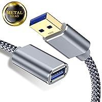 Capshi USB 3.0 延長ケーブル - AオスからAメスへ - [3.3+6.6フィート] USB 3 延長コード ナイロン編組USBからUSB3 延長ケーブル USB Type A 延長コード スーパースピード USB A ケーブルエクステンダー 金メッキ