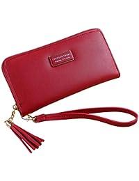 レディース財布、三番目の店 女性 シンプル レトロジッパーロングウォレットコインケース カードホルダー ハンドバッグ