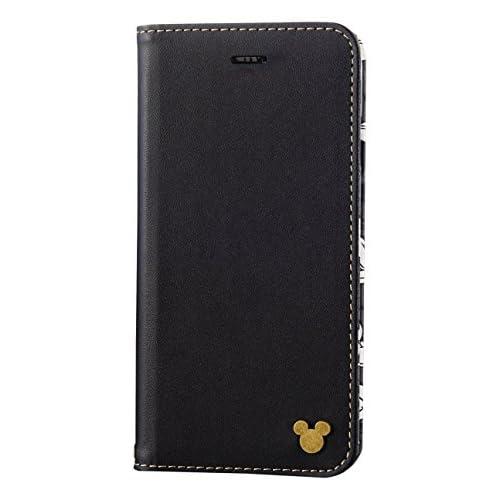 エレコム iPhone7ケース / アイフォン7 ソフトレザーケース Disney カジュアル 手帳型 スマイル・ブラック(Smile Black) PM-A16MPLFDNYC4