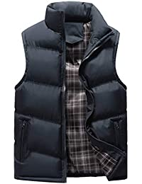 Inlefen 秋と冬 男性 スリムフィット ベスト ジッパー コート 暖かく保つ コート トップ