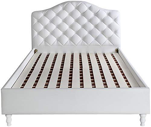 Gストア ハイバックベッドフレーム PVCレザー張りベッド ホテルライクなデザイン ヘッドボードは高級感あふれるボタン止め加工 床板は通気性の良いすのこ仕様 (ホワイト, ダブル)