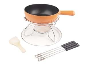 パール金属 プレシャス ふっ素加工 チーズフォンデュ 鍋 セット オレンジ H-2558