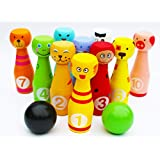 Toys of Wood Oxford Wooden Skittles for Children - Wooden Skittle Set Animal Faces 12 Pieces Large Size - Wooden Toys 2 Year Old