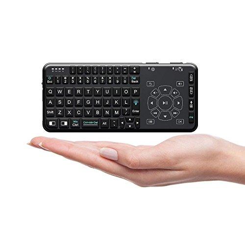 Ewin 2.4GHzワイヤレスキーボード ミニ無線キーボード 超軽量75g 多機能 スマートリモコン ポケットサイズ タッチパッド搭載 PCとTV両対応 USBレシーバー付属 バックライト付き Android/Mac/Windows対応【18ヶ月保証付き】