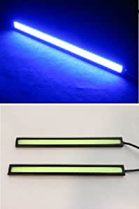 [lighteen] 夜道最強 強力発光  COB LED プレート型 17cm  ムラなし 防水 デイライト 12v  (ブルー / ブラック)