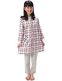 74850 パジャマ ジュニア 子供 女の子 綿100% 長袖 前開き チュニック丈 チェック柄【140/150/160】
