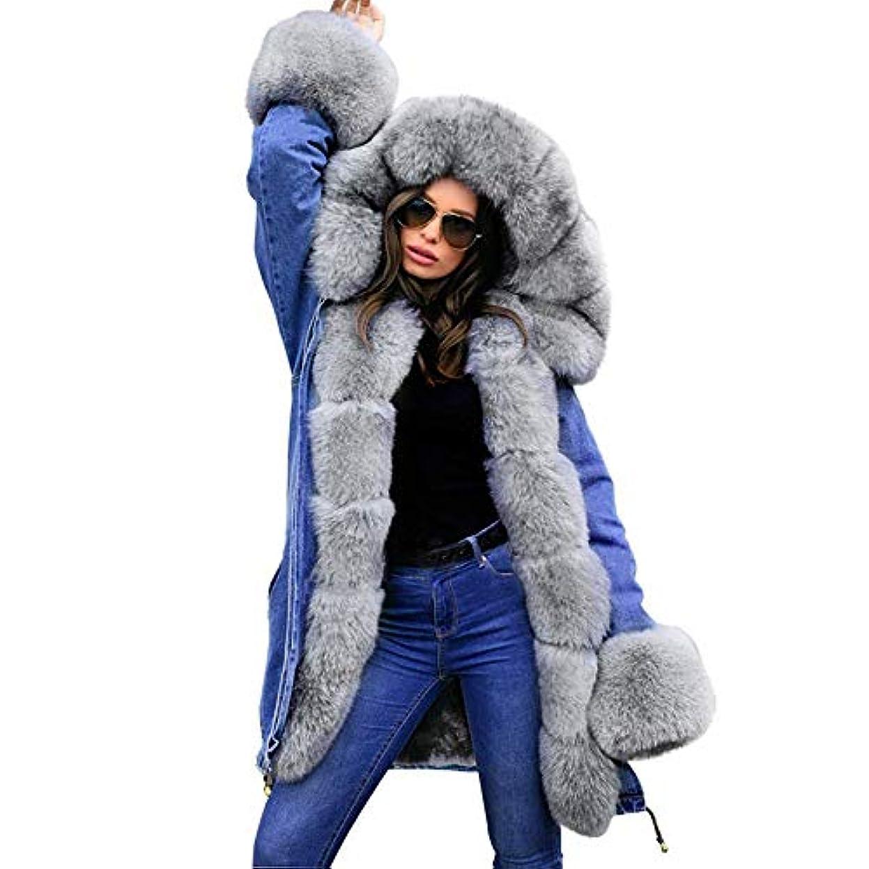 はげ登場高価な冬の女性のフード付きコートの毛皮の襟暖かいロングコートの女性の冬のジャケット女性のアウター,L