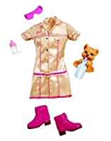 Mattel Barbie Clothes Outfit - I Can Be Pet Vet Gold Dress, Pink Boots, Sunglasses, Tiger Cub and Baby Bottle by Mattel