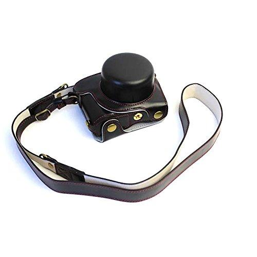 Mercs 高級合皮レザー ミラーレス一眼 カメラケース Nikon Nikon1 J5 専用 10-30mm レンズ 対応 セパレート式 電池交換できるデザイン ショルダーベルト付き (ブラック)