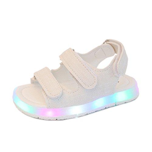 EIMEI 子供サンダル ベビーシューズ LED靴 ビーチサンダル 可愛 おしゃれ 発光 キラキラ光る靴 軽量 通気 kids アウトドア キッズ 男の子 女の子 (15cm, ホワイト)
