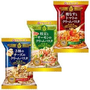 アマノフーズ フリーズドライ 三ツ星キッチン パスタ 3種類12食セット (即席 本格 クリーム パスタ)