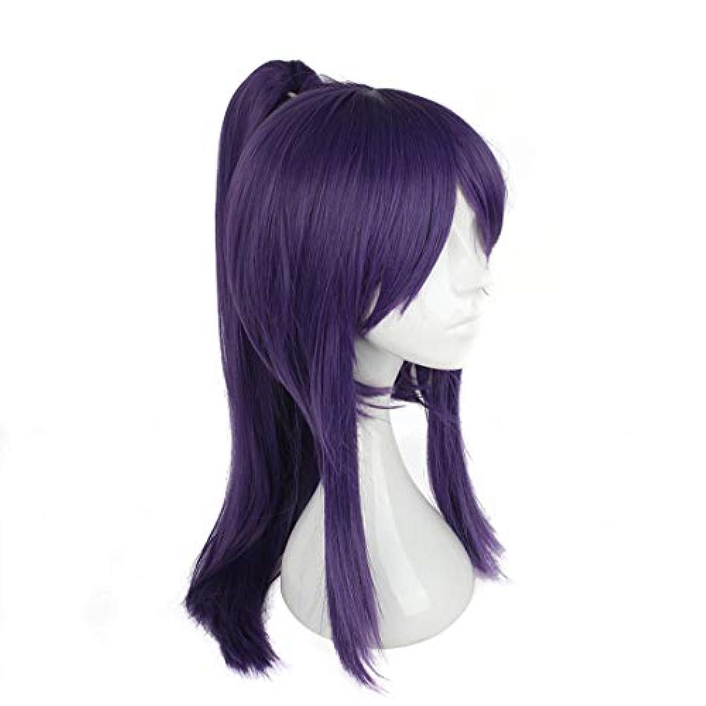 びっくり脱走曲がったJIANFU コスプレウィッグ日本サムライ服ウィッグコスプレウィッグパープルバンズロングヘア (Color : Purple)