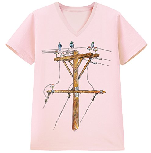 【ノーブランド品】【電柱 鳥】 ピンク Mサイズメンズ半袖VネックTシャツ