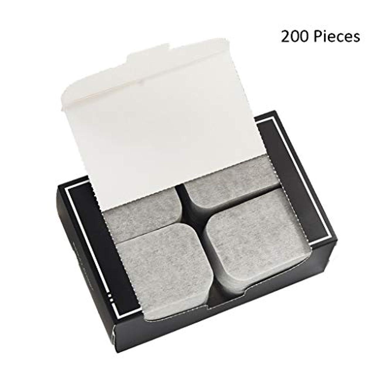 進化毒穏やかなクレンジングシート 200ピースフェイスメイクアップリムーバー竹炭コットンパッドソフトクレンジングメイクピュアコットン両面スライス 落ち水クレンジング シート モイスト (Color : Gray, サイズ : 7*5cm)