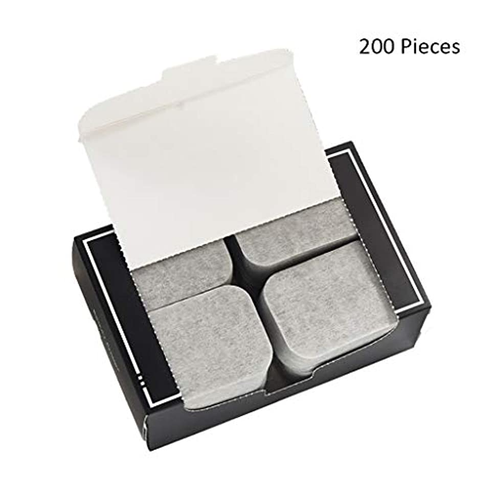 200ピース/パックフェイスメイクアップリムーバー竹炭ポータブルコットンパッドソフトクレンジングメイクピュア両面リムーバーコットン (Color : Gray, サイズ : 7*5cm)