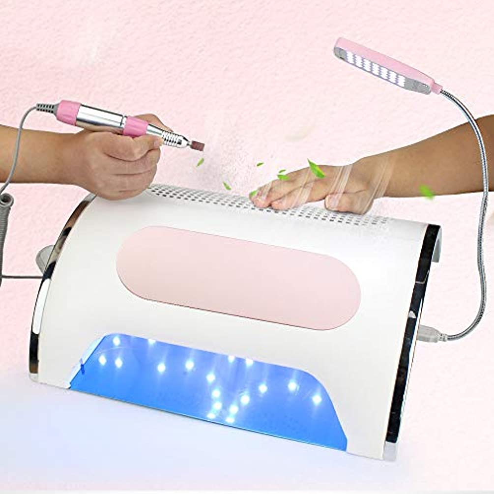 72 W 3 in 1多機能マニキュアアートツール、ネイルドライヤー、電動ネイルドリルマシン、LED照明機能付きジェルポーランドサロン家庭用,Pink