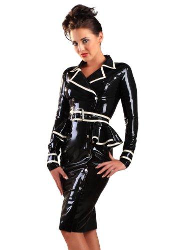 Honour Women's Jubilee Jacket Dress in Black Rubber Long sleeves & Buckle Front