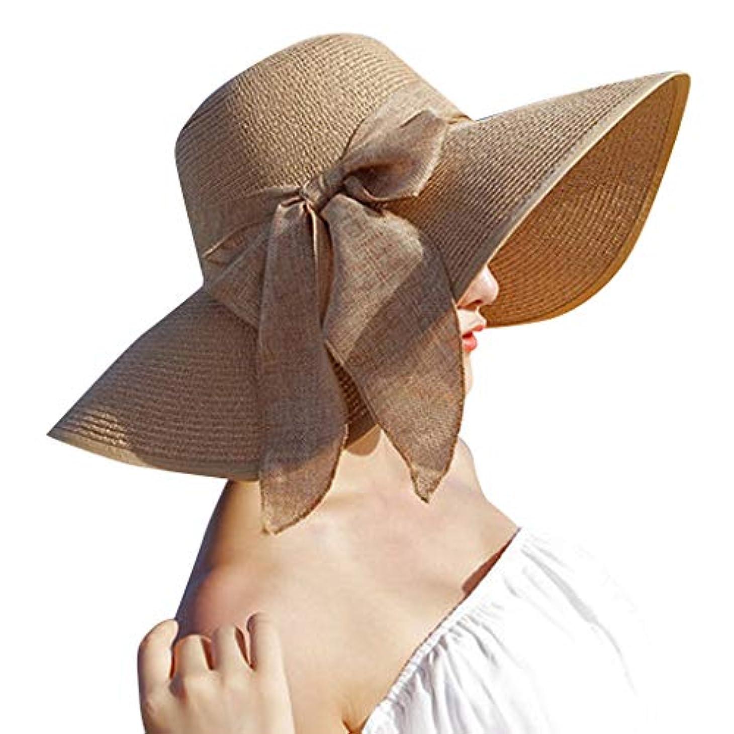 海峡ひも銛積分日除け帽子 ハット レディース ビッグバイザー 日よけ 夏季 日焼け 折りたたみ つば広 紫外線100%カット UV ハット 可愛い 顔効果抜群 サンバイザー 小顔効果 春夏 お出かけ用 ビーチハット 海辺 ROSE ROMAN