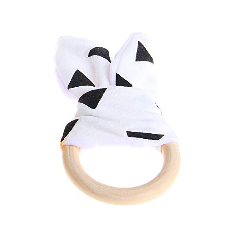 2 #ホット木製Natural Baby Teething Ring Chewie Teether Bunny Sensoryギフトおもちゃ