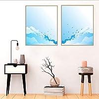 ウォールアート現代のミニマリストのスプレー絵画キャンバスに描かれた漫画の空装飾フレームなしのリビングルーム用の装飾50x70cmx2pcs