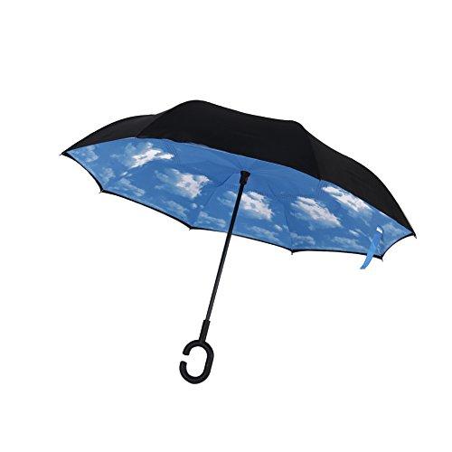 Kalorie 長傘 逆さ傘 逆折り式傘 手離れC型手元 耐風傘 撥水加工 ビジネス用車用 晴天の空 爽やか