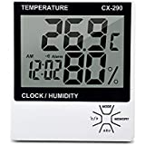 Honeytecs Indoor Thermometer Humidity Gauge LCD Digital Thermometer Hygrometer Room ℃/℉ Temperature Humidity Gauge Meter Alarm Clock Thermo-Hygrometer with MAX/MIN Memory
