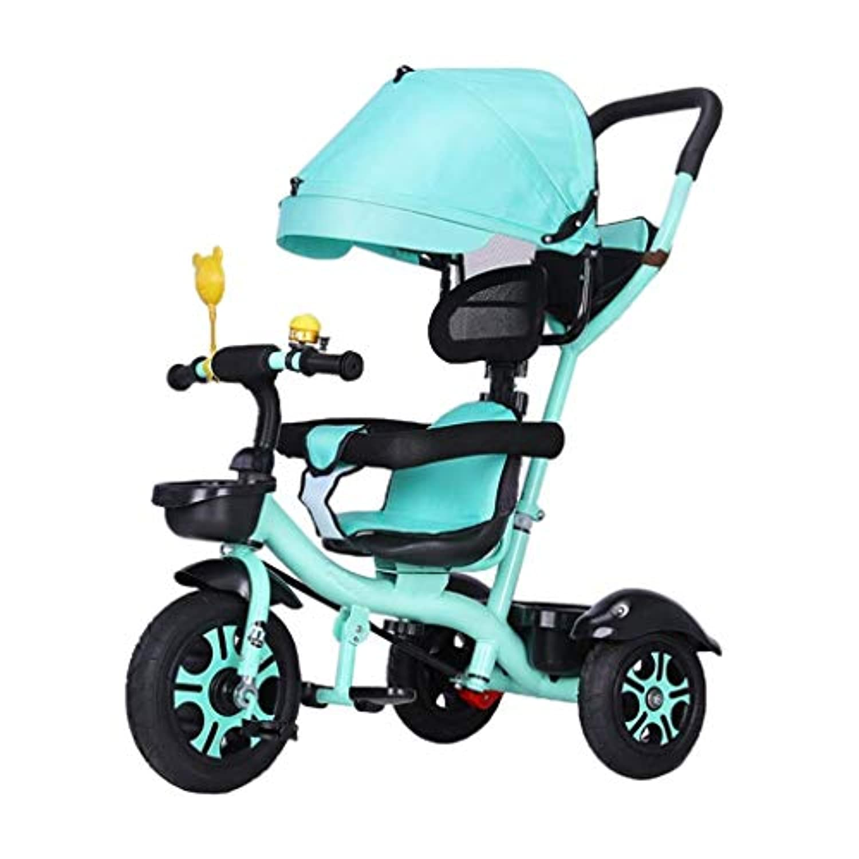 三輪車、回転座席付き多機能4-in-1三輪車、二方向座りデザイン、ベビーアウトドア三輪車、2色、90 * 90 * 58 cm(カラー:グリーン)
