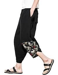 YFFUSHI メンズ サルエルパンツ M-5XL 七分丈 綿 黒 全6柄 和風 調整紐 ゆったり 正規品 個性 ワイドパンツ アラジンパンツ 男女兼用