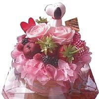 母の日 スヌーピー入り  花  フラワーケーキ プリザーブドフラワー入り ケース付き ◆スヌーピーマスコットカラーはおまかせです