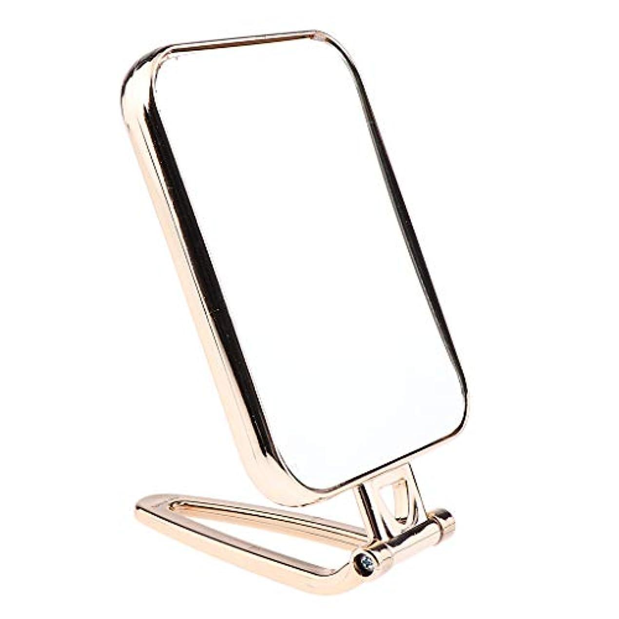 最高ソブリケット収容するF Fityle メイクアップミラー 折りたたみ ポータブル 洗面台 卓上 旅行 コンパクトミラー 2タイプ選べ - ゴールド